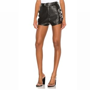 Revolve - NBD black leather buckle shorts